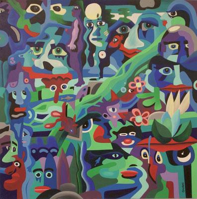 Les gens de la rivière. Acrylique sur toile. Collection privée.
