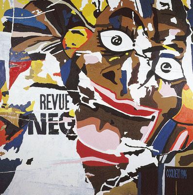 Revue nègre. Technique mixte. 150 x 150 cm.