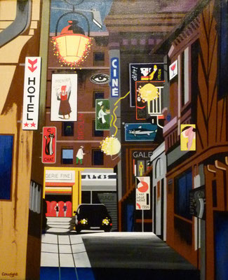 Rue de l'hôtel. Acrylique sur toile. Collection privée.