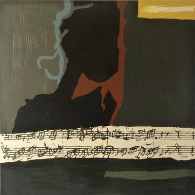 Ecriture nocturne (La passion selon St Jean JJ Bach). 120 x 120 cm.