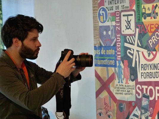 César Coudert en prise de vues pour réalisation d'une vidéo.