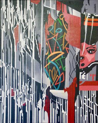 Graffitis. Acrylique sur toile. 65 x 81 cm.