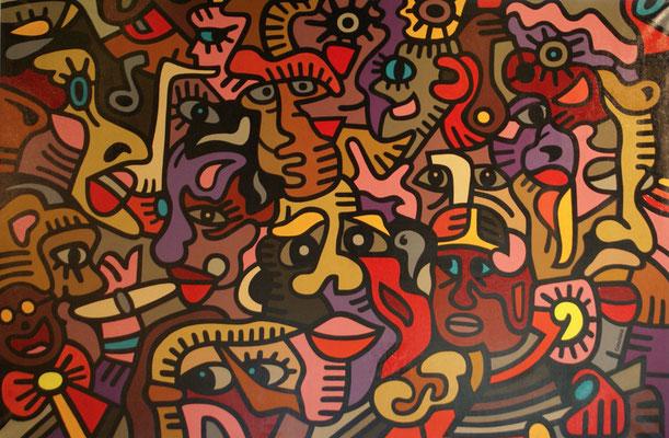 Jazz'Af. Acrylique sur toile. 195 x 130 cm.