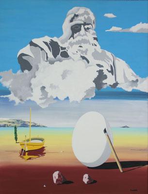 Dieu et l'œuf de Dali. Acrylique sur toile. 89 x 116 cm.