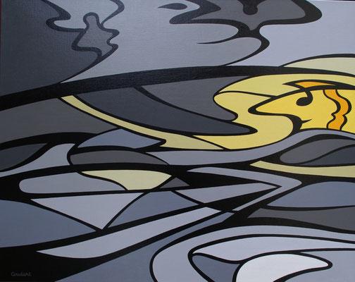 Le paludier. Acrylique sur toile. 73 x 92 cm.