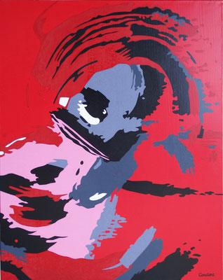 Tête de canard. Acrylique sur toile. 73 x 92 cm.