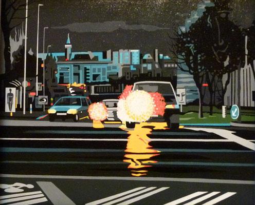 Boulevard du château. Acrylique sur toile. Collection privée.