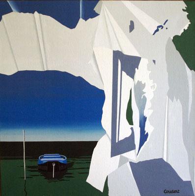 La pêche en hiver. Acrylique sur toile. Collection privée