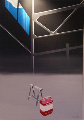 Très tôt je peignais des toiles bidon. Acrylique sur toile. Collection privée.