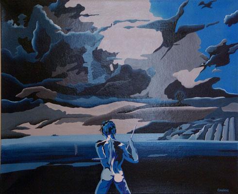 """Scène de """"Pierre et le loup"""". Acrylique sur toile. 73 x 92 cm."""