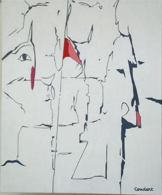 La bande des 4. Acrylique sur toile. 54 x 65 cm.