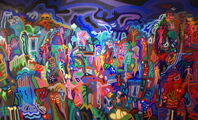 Les femmes de la clairière. Acrylique sur toile. 90 x 146 cm.