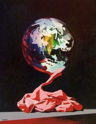 Quand je regarde le monde, cela me chiffonne. Acrylique sur toile. Collection privée.
