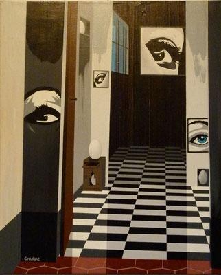 Les murs ont des yeux. Acrylique sur toile. Collection privée.