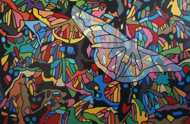 Papillons. Acrylique sur toile. Collection privée.