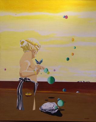 Petit, le garçon pensant qu'il était une fille, préférait jouer avec un papillon que d'enfiler des perles. Collection privée