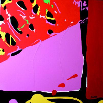 Abstraction 10. Acrylique sur toile. 90 x 90 cm.