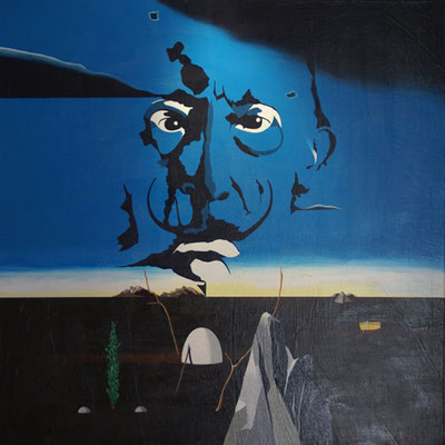 Dali face à la naissance de son œuf. Acrylique sur toile. Collection privée