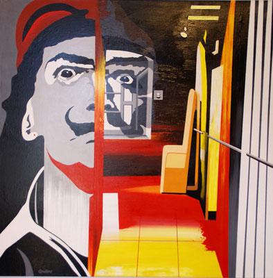 Dali à la fenêtre du couloir du château de Pujol. Collection privée