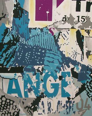 La main gantée de l'ange. Acrylique sur toile. 73 x 92 cm.