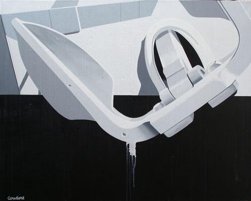 Un peintre qui fait couler beaucoup d'ancres. Acrylique sur toile. 73 x 92 cm.
