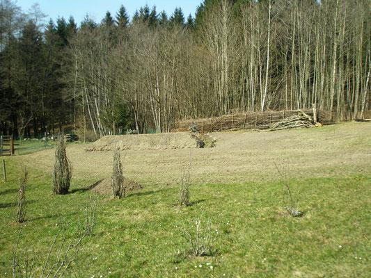 Das zweite Hügelbeet mit einer Fläche von 2 x 5 Meter, in Nord-Süd-Richtung ausgerichtet.