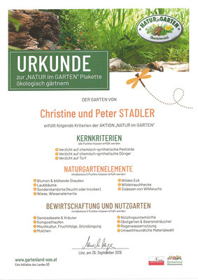 """Plakette zur """"NATUR im GARTEN"""" ökologisch gärtnern."""