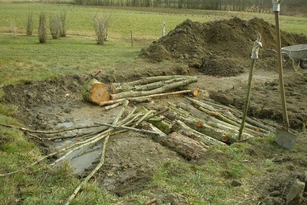 Die ausgehobene Grube wird mit Baumstämme und Äste aufgefüllt.