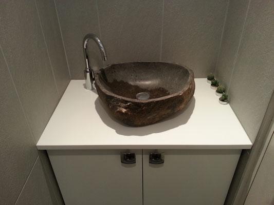 meuble vasque en solid surface vkorr avec vasque en pierre