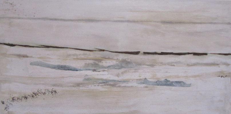Horizont 2016, Sand, Rost, Papier, Pflanzenstücke 50x150