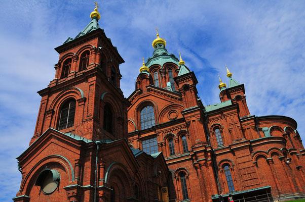 Orthodoxe Uspenski Kathedrale auf Hügel auf der Halbinsel Katajanokka in Helsinki