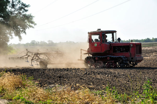Traktor bei seiner Arbeit