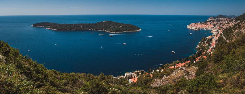 Panorama Aussicht von Dubac aus mit Blick auf Dubrovnik und das adriatische Meer