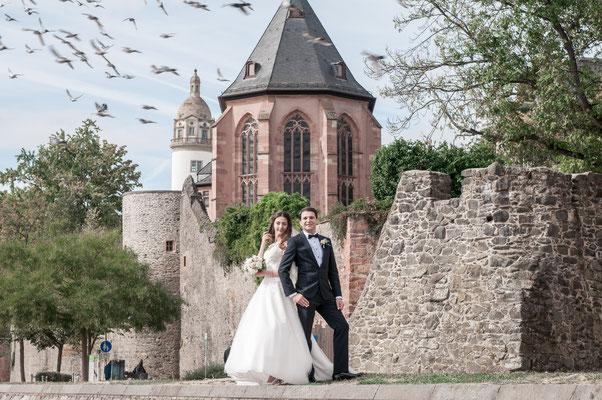 Sogar die Tauben der Liebe wollte auf das Bild mit dem Brautpaar mit