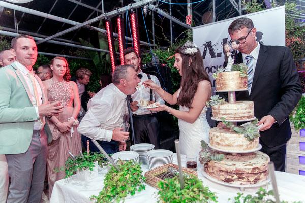 Das Anschneiden der Hochzeitstorte