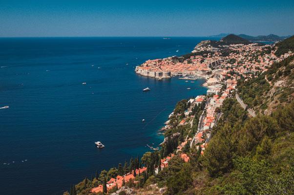 Blick auf die Altstadt Dubrovnik von Dubac aus