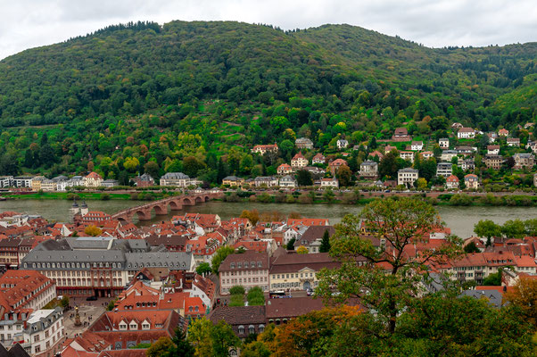 Der Blick auf die alte Brücke von Heidelberg über den Fluss Neckar vom Heidelberger Schloss aus