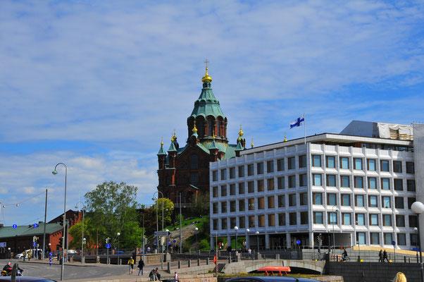 Ansicht zu der russisch-orthodoxen Kathedrale in Helsinki