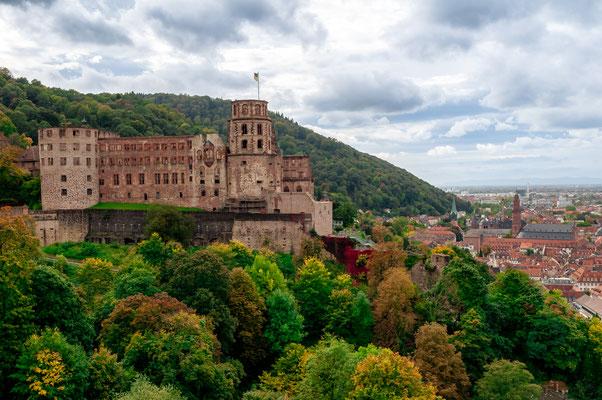 Heidelberger Schloss mit Blick auf die Stadt Heidelberg