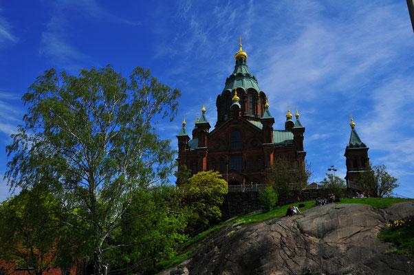 Hauptstadt Finnlands, Helsinki - Orthodoxe Uspenski Kathedrale auf Hügel auf der Halbinsel Katajanokka