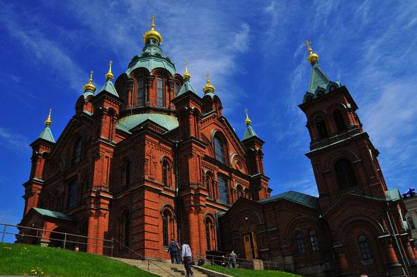 Orthodoxe Uspenski Kathedrale auf Hügel auf der Halbinsel in Helsinki, der Hauptstadt Finnlands