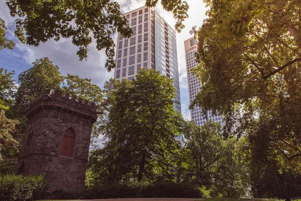 Blick auf den Opernturm vom Rothschildpark aus