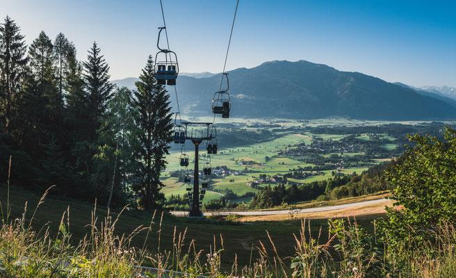 Seilbahn zum Berggasthof Huggenberg bei Kehlbach in Österreich