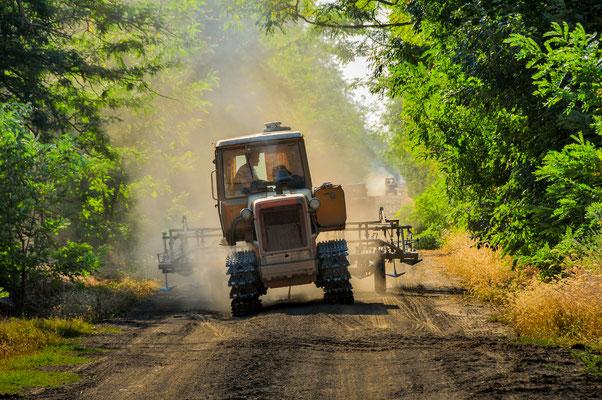 Russischer Feld-Traktor als Gegenverkehr
