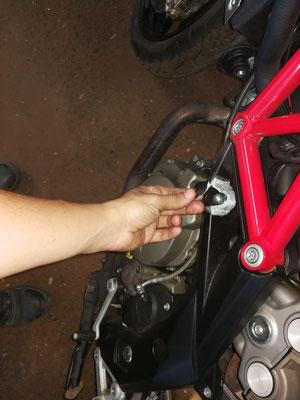 Chasis de motocicleta con rotura por caída