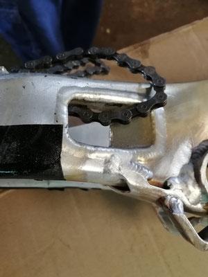 Cuadri bici Monty con varias fisuras reparado con soldadura aluminio