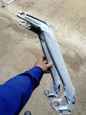 Basculante bici descenso, refuerzo mediante soldadura aluminio