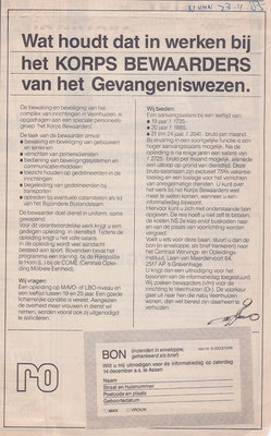 Advertentie korps bewaarders 1985