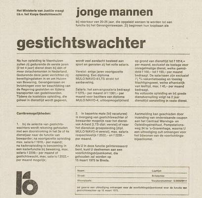 Advertentie gestichtswachter 1975