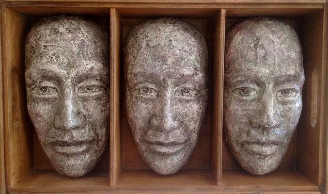 Three in a box, 31 x 52 x 13 cm